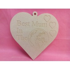 4mm MDF Heart  Best Mum